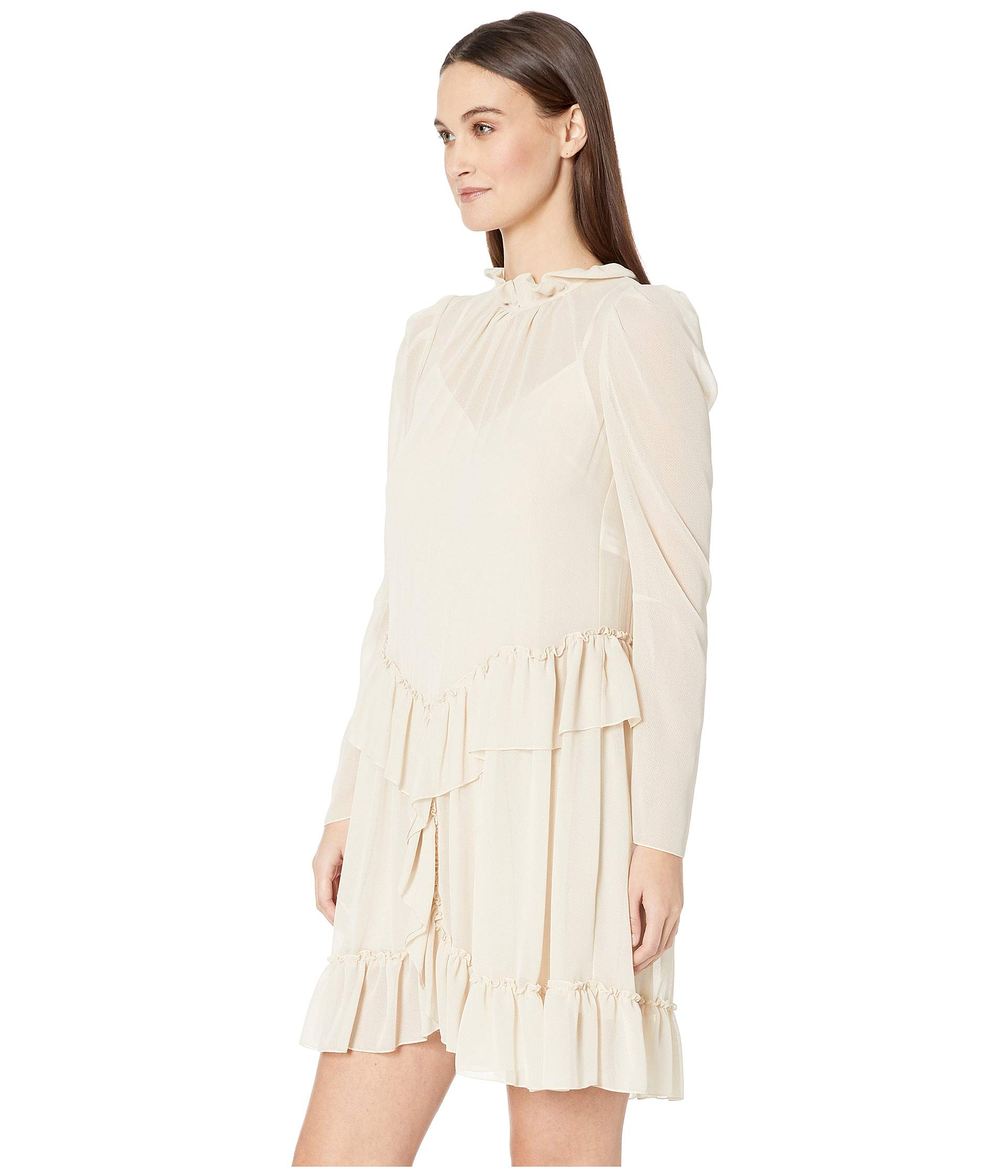 Chloe Dress Peplum Foggy See Georgette By Textured Ivory 5B6wwqT4