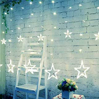 slashome Star Curtain Lights, 8 Modes, 29V, with 12 Stars 138pcs LED Waterproof Linkable Curtain String Lights, White String Light for Christmas/Halloween/Wedding/Party Backdrop, UL Listed