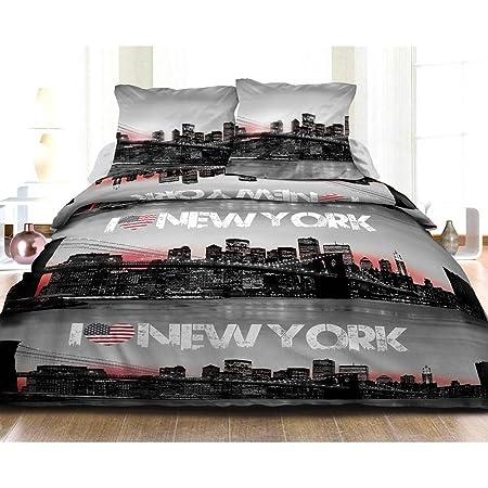 Housse de Couette 220x240 + 2 taies Pur Coton 57 Fils New York