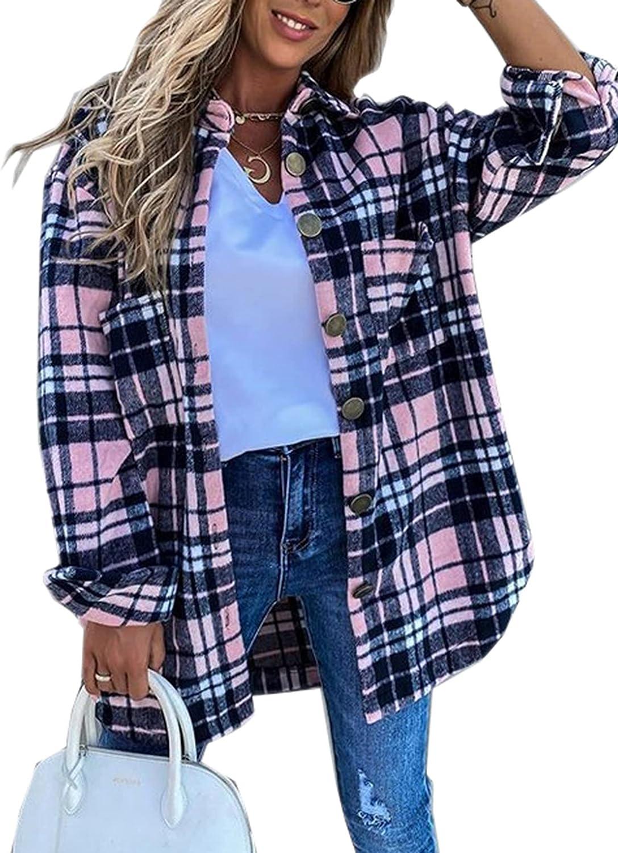 Women Casual Lapel Button Up Long Sleeve Plaid Long Shirt Coat Cardigan Long Jacket Shacket Fall Winter Jackets