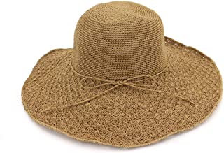 Summer hat Summer Women Sun Hat Beach Folding Casual Summer Broad Side Fashion Unproblematic Panama Straw Floppy hat (Color : Coffee, Size : 56-58CM)