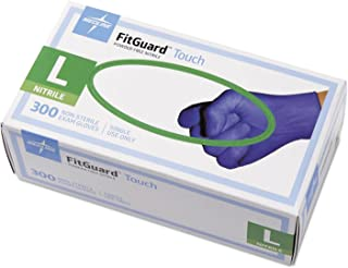 Medline FitGuard Touch Nitrile Exam Gloves, Disposable, Powder-Free, Cobalt Blue, Large, Box of 300