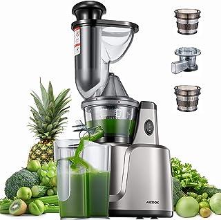 Extracteur de jus de Fruits et Légumes, Aicook 75MM jus de Fruit Machine avec Trois Filtres pour Légumes, Aliments pour Bé...