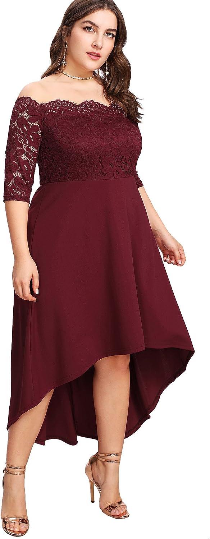 outlet Floerns Women's Plus Size Vintage Lace Dip High Low Par Cocktail Cheap mail order shopping