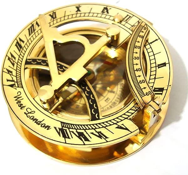 皇家印度黄铜日晷指南针 3 航海礼品日晷