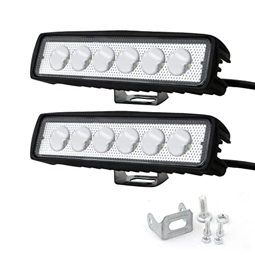 "Allextreme 6"" 18W Flood Led Work Light Bar Black For Off-Road Suv Boat 4Wd Ute Atv Jeep Fog Driving Truck 2Pcs"