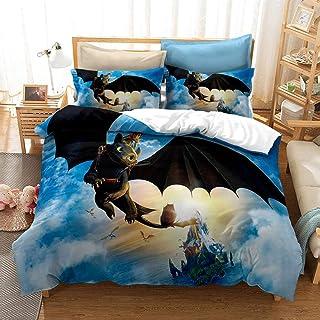 XLLJA påslakan 2 kuddöverdrag, 3D-digitaltryck drake sängklädesset, påslakan och kuddöverdrag, enkel, dubbel, drottning, K...