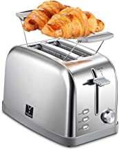 Yabano 2 Slice Toaster, Bagel Toaster Toaster with 7 Bread Shade Settings, Warming Rack, 2 Extra Wide Slots, Defrost/Bagel/Cancel Function, Removable Crumb Tray, Stainless Steel Toaster - Silver