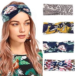 Ushiny - Fascia elastica per capelli con nodo per yoga e yoga, con motivo a croce, accessorio per donne e ragazze (4 pezzi)