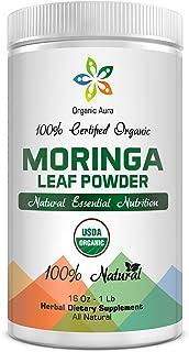 Organic Aura Raw Organic Moringa Leaf Powder, USDA Certified, 16Oz - 1Lb (454 gms)