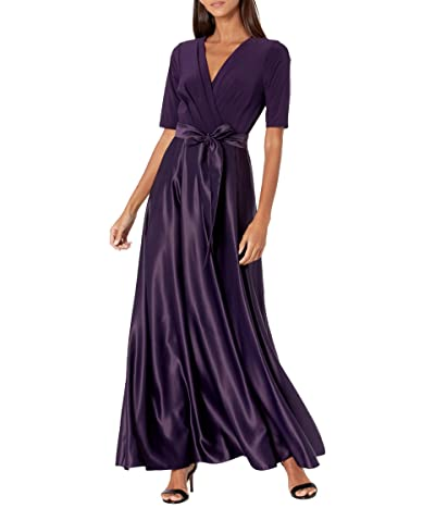 Alex Evenings Tea Length Surplice Neckline Dress with Tie Waist (Eggplant) Women