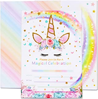 AMZTM Magical Unicorn Party Invitations with Envelopes for Kids Birthday Baby Shower Unicorn Party Supplies 20 Pieces of Fill-in Blank Invitation Card Kit
