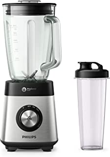 Philips Series 5000 Blender, Metallic, 1000W metal, variable speed, 2l glass jar, 1 tumbler, problend 6, pulse button HR35...