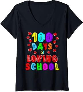 Womens Loving 100th Day 100 Days of School V-Neck T-Shirt