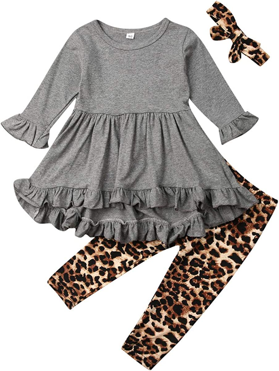 3PCS Toddler Baby Girl Outfit Ruffle Long Sleeve Tunic Top+Leopard Floral Legging Pants+Headband Clothes Set