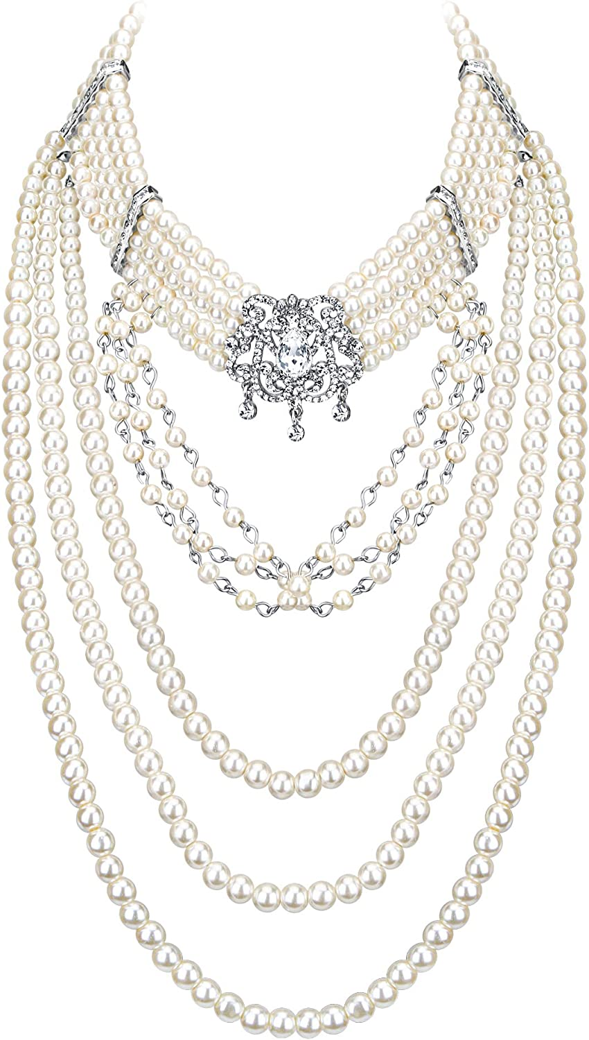 EVER FAITH Crystal Multi-Strand Layered Ivory Color Simulated Pearl Vintage Style Bib Collar Statement Necklace