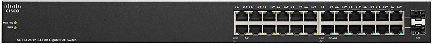 ,Black GbE Limited Lifetime Protection Ports plus 2 Combo mini-GBIC SFP Cisco SG110-24 Desktop Switch with 24 Gigabit Ethernet SG110-24-NA