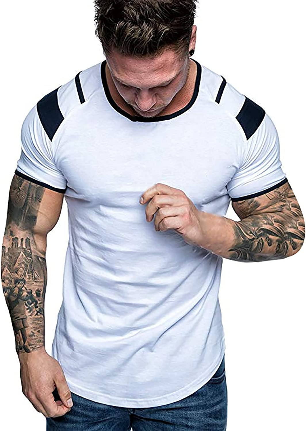 Mens T Shirts Short Sleeve Casual O-Neck Shirts Bodybuilding Gym Athletic Muscle Workout Slim Fit Tee Athletic Tops