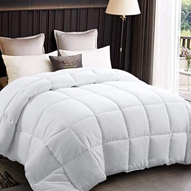 EDILLY All Season Queen Size Soft Quilted Down Alternative Comforter Hotel Collection Reversible Duvet Insert with Corner Tabs, Fluffy Hypoallergenic,88 by 88 Inches,White