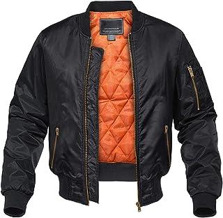 KEFITEVD Men's Bomber Baseball Jackets Winter Retro Military Jacket Warm Cargo Coats with Zipper Pockets