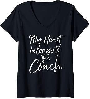 Womens Cute Coach's Wife Gift Women's My Heart Belongs to the Coach V-Neck T-Shirt