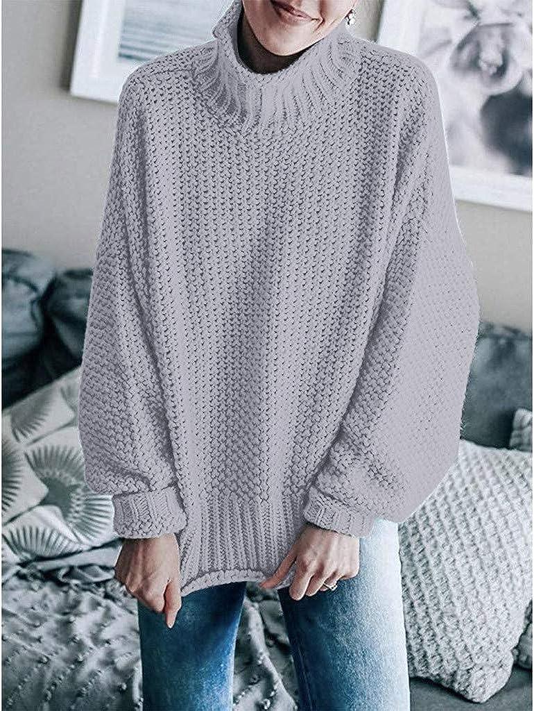 BOLANQ Damen Herbst Winter Übergangs Warm Bequem Slim Lässig Stilvoll Frauen Langarm Solid Sweatshirt Pullover Tops Bluse Shirt Grau