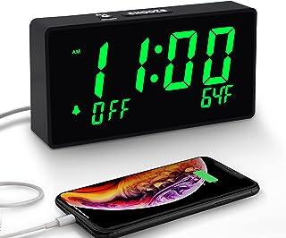 ساعت زنگ دار دیجیتال با کارایی ساده ، میزان زنگ هشدار قابل تنظیم ، کم نور روشنایی تمام عیار ، صفحه نمایش بزرگ 6 اینچ LED ، پورت USB برای شارژ ، دما ، ساعت برقی اتاق خواب ، بالین