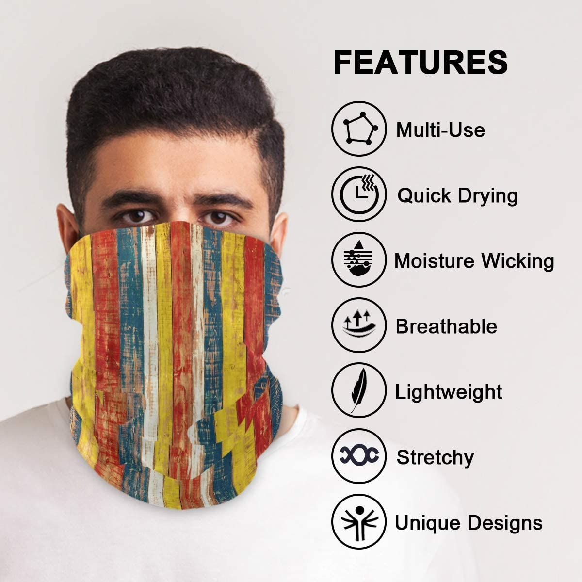 SUABO Face Sun Dust Scarf Wooden Neck Gaiter Headwear Headband for Cycling Fishing Hiking Camping