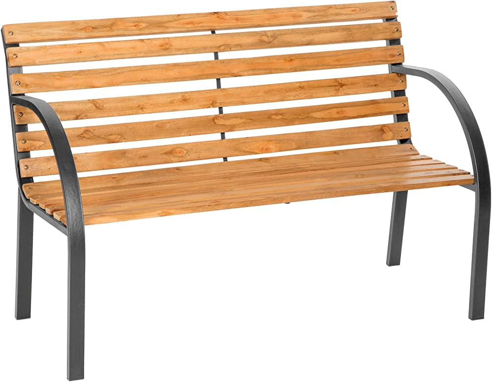 Tectake panchina da giardino in ghisa e legno lavorato stabile e robusta 401423