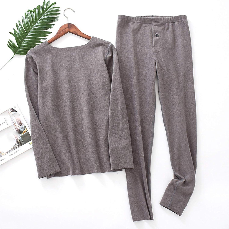 Global Mens Pajamas, 2-Piece Warm pj Set Thick Warm Pyjamas Suit Long Sleeve Casual Wear Home Pyjama Set