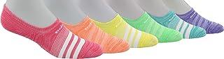 adidas Girl's Superlite Super No Show Socks (6-Pair),White/Black/Clear Aqua/Glory Mint Green/Haze