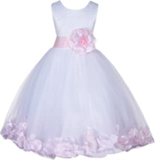 07903655591 ekidsbridal White Lace Top Tulle Floral Petal Formal Flower Girl Dresses  Daily Dress 165S