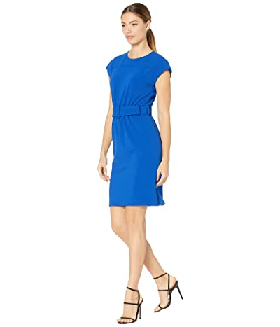 Calvin Klein Belted Dress with Cap Sleeve Women