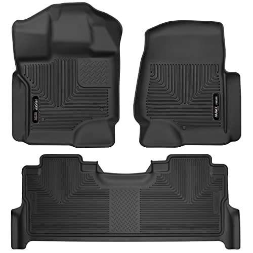 Husky Liners 53361-53381 - X-Act Contour - First and Second Rows (Footwell Coverage Only in Second Row) All Weather Custom Fit Floor Liners for 2017 Ford F-250/F-350/F-450 Super Duty Crew Cab - Black