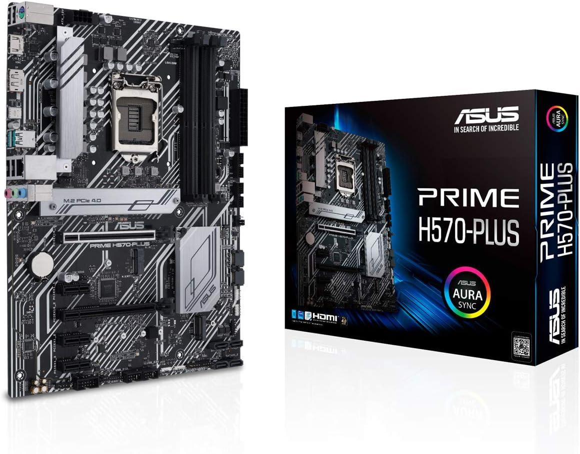 ASUS Prime H570-PLUS - Placa Base ATX (Intel H570 LGA 1200 con VRM de 8 Fases, Dos Ranuras M.2, 1 GB Ethernet, USB 3.2 Gen. 2 de Tipo C, USB 3.2 Gen. 2 Trasero, Thunderbolt 4)