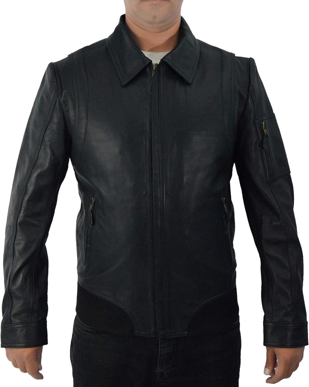 F&H Men's Genuine Leather Faster The Rock Dwayne Johnson Bomber Jacket