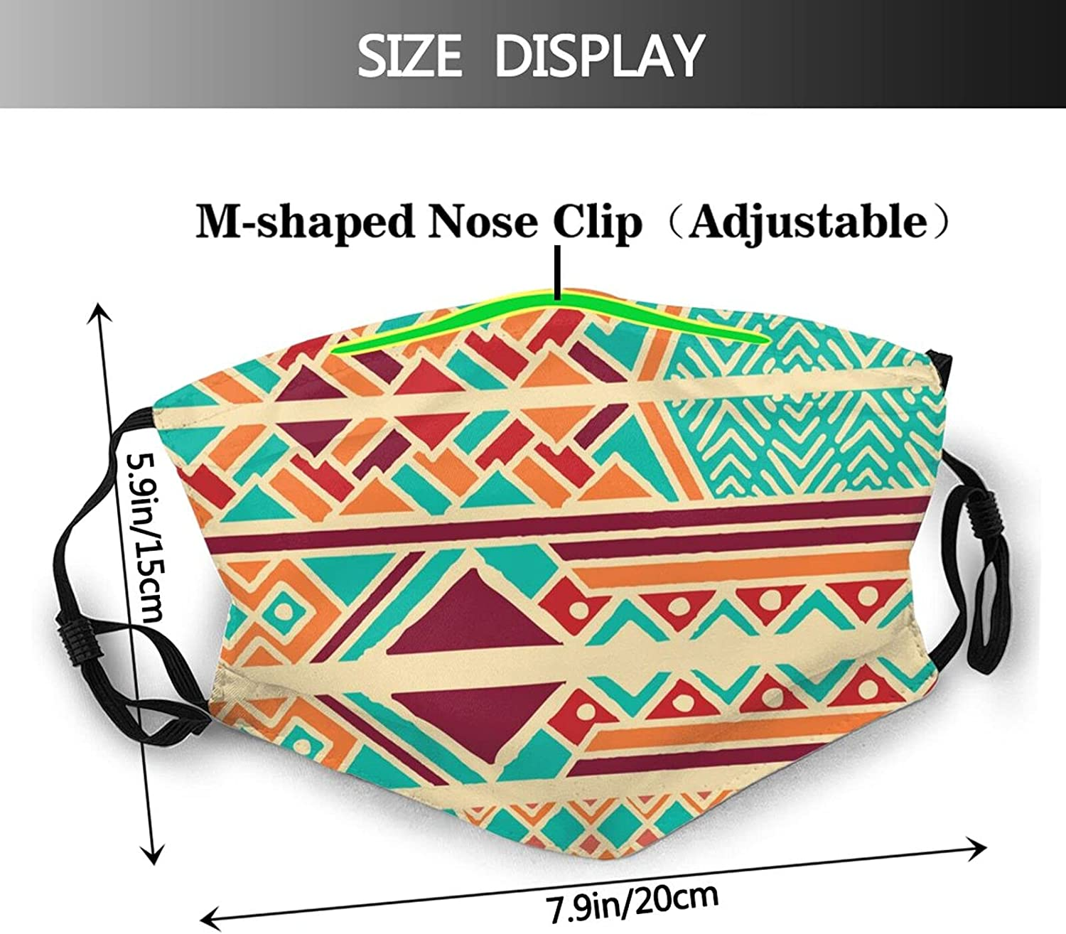 African Kente Tribal Face Mask Washable Adjustable Reusable Fabric Cloth Bandanas Balaclava with 2 Filters for Adult