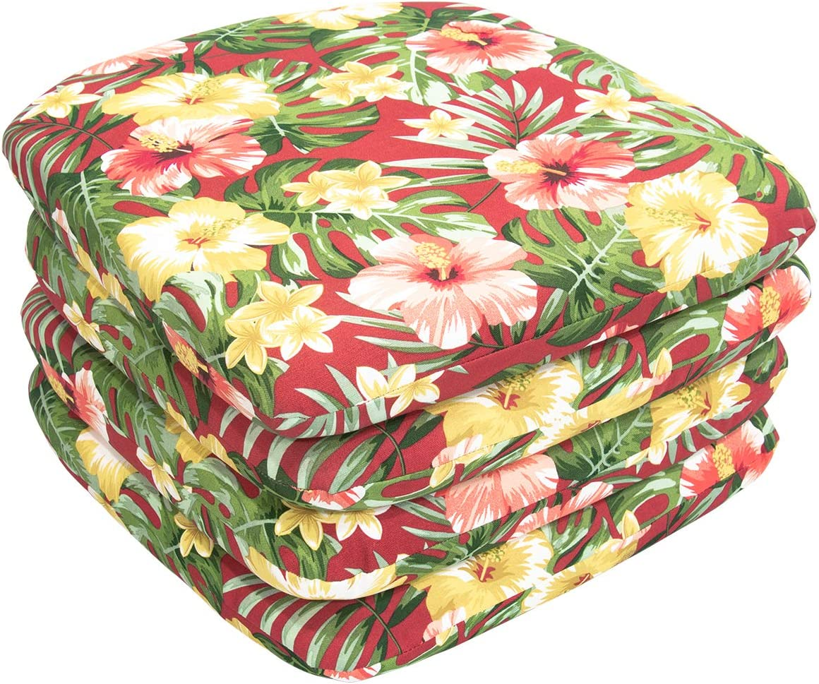 Red Flower Outdoor Seat Cushions Set of Pad Weather New color Chair All 4 Max 44% OFF