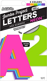 """ArtSkills Jumbo 4"""" Paper Poster Letters and Numbers for Projects and Crafts, Neon Colors, 190 Pieces"""