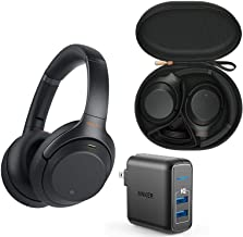 Sony WH1000XM3 Premium Wireless Bluetooth Noise Canceling Over Ear Headphone Bundle with Voice Assistant, Portable Carry Case, Anker 2-Port USB Wall Charger, and in-Flight Adapter - Black