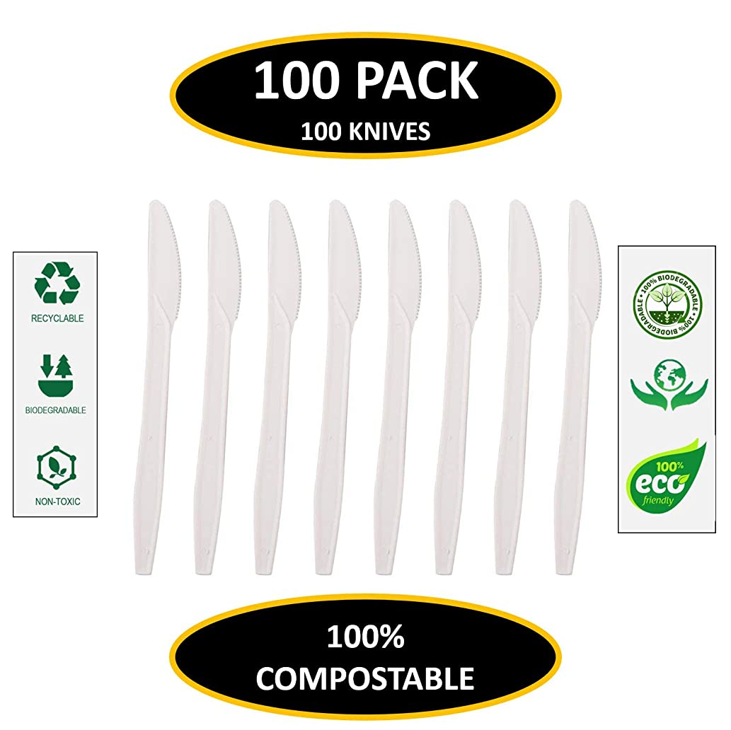 Knives - by EcoMojiWare.com - Certified Compostable Biodegradable Cutlery (100 count), made from Corn Starch