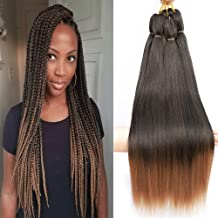 """Befunny 8 Packs Pre Stretched Braiding Hair Ombre Professional Prestretched Synthetic Braiding Hair Crochet Braids Hair Two Tone Yaki Straight Hair For Women Hot Water Setting, Itch Free(24"""", T1B/30#)"""