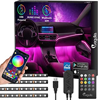 Car Interior Lights with Bluetooth App Control, Megulla 4PC Underdash Lighting Kits with Remote, USB RGB LED Strip Lights for Cars Trucks with 16 million Colors, Sync to Music, Timer and Universal Fit