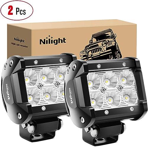 Nilight - 60001F-B Led Pods 2PCS 18W 1260LM Flood Led Off Road Lights Super Bright Driving Fog Light Boat Lights Driv...