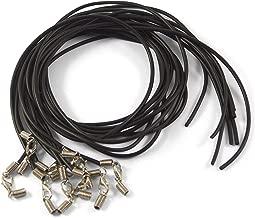 Juego de 10 collares de caucho con cierre de mosquetón, color negro
