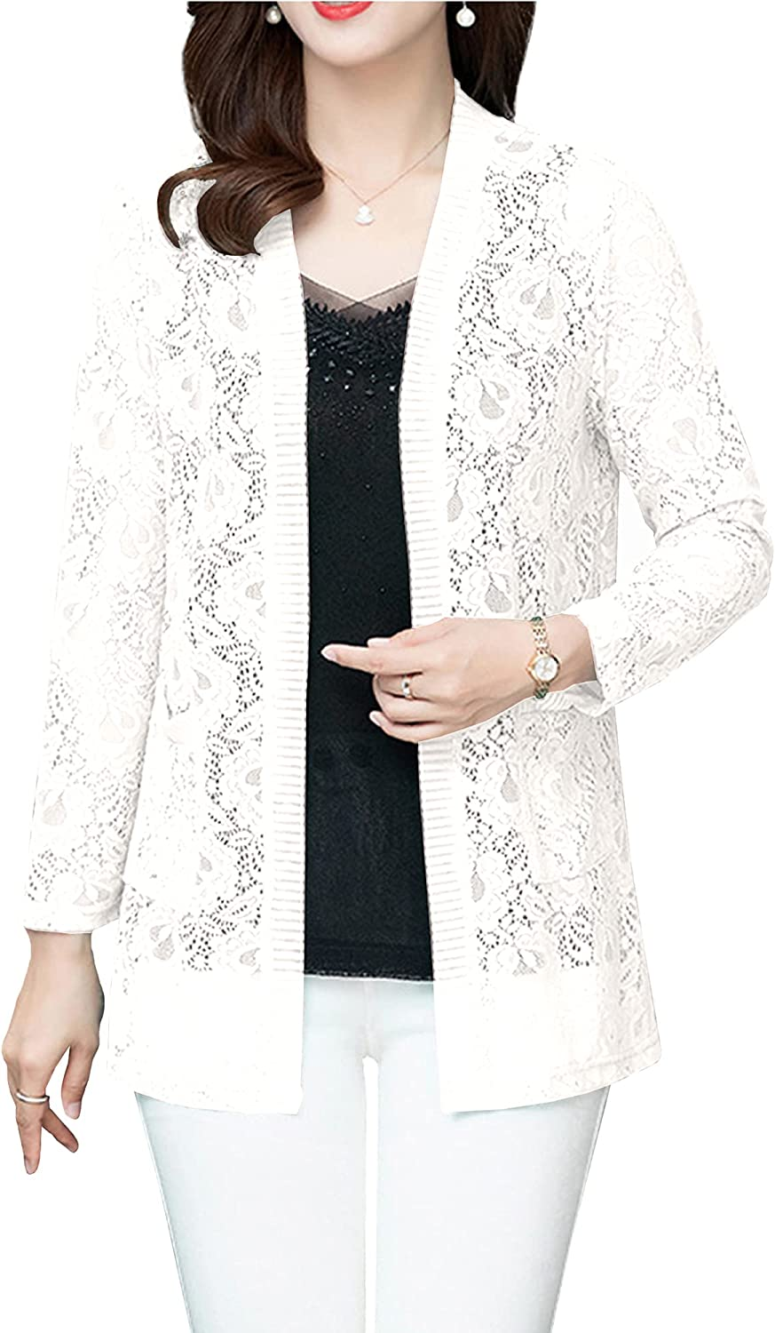 Hixiaohe Women's Long Sleeve Lace Cardigan Mid Long Open Front Shrug Cover Up w Pockets