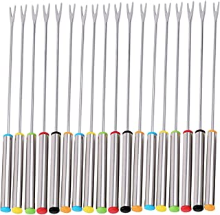 Vincilee 18 Pieces Stainless Steel Fondue Forks with Heat Resistant Handle For Cheese Chocolate Fondue Roast Marshmallows Meat Dessert Fork Fondue Melting Skewer Barbecue fork Kitchen Tools