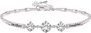 ALOV Jewelry Sterling Silver Mother Daughter Cubic Zirconia Bracelet