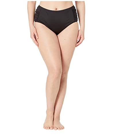 Kenneth Cole Plus Size Bloomin Beauty Mid High Shirred Side Pant (Black) Women
