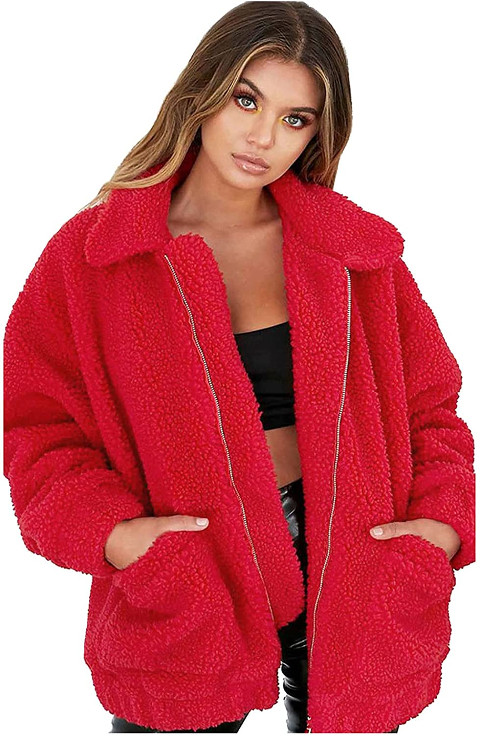 GERsome Ladies Warm Faux Furry Coat for Women's Winter Oversized Turn Down Collar Jacket Fashion Zipper Pockets Outerwear Red
